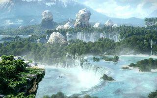 Бесплатные фото горы,камни,река,течение,водопады,деревья,природа