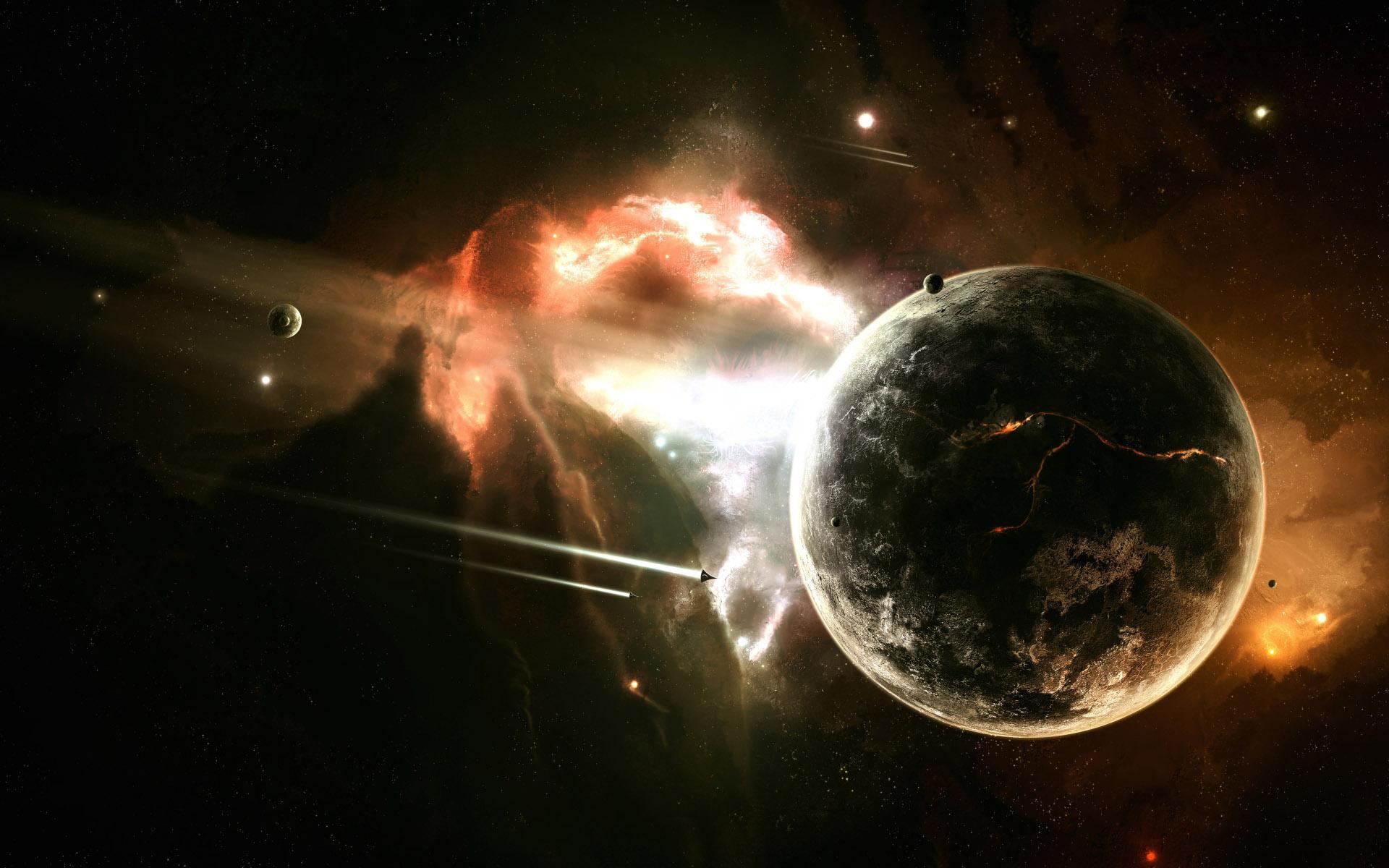 космические корабли возле планеты, спутники, яркая туманность