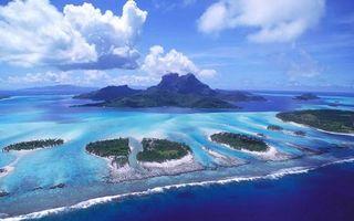 Бесплатные фото море,острова,растительность,горы,небо,облака