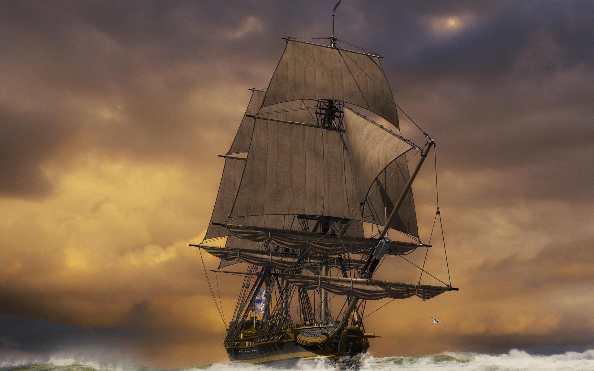 море, волны, корабль