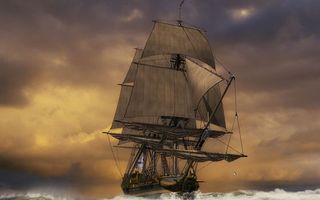 Бесплатные фото море,волны,корабль,парусник,небо,тучи,разное