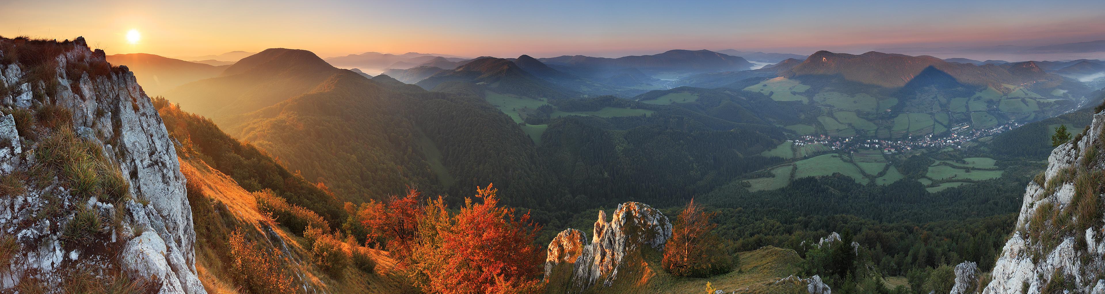 осенний, закат, в горах