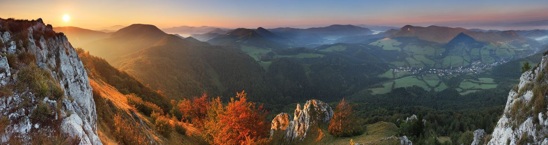 Бесплатные фото осенний,закат,в горах,лучи,солнца,кустарник,оранжевый,горы,холмы,долина,простор,городок