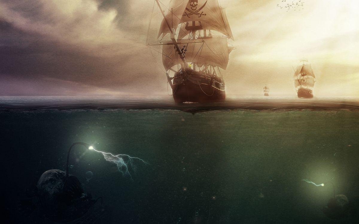 Фото бесплатно пираты, корабль, паруса, череп, океан, рыба, рендеринг, рендеринг