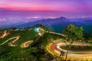 Фото бесплатно Таиланд, трасса, огни, ночь, горы, пейзаж