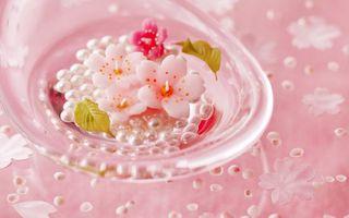 Бесплатные фото цветки,вишня,ваза,тарелка,бусины,жемчуг,листья