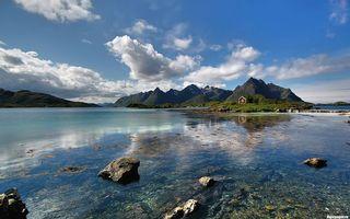 Бесплатные фото вода,камни,горы,небо,облака,отражение,природа