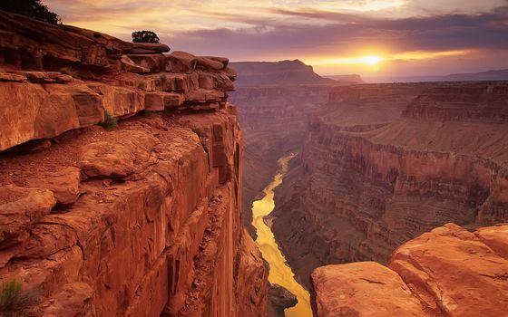 Фото бесплатно закат над гранд-каньоном, солнце, горы