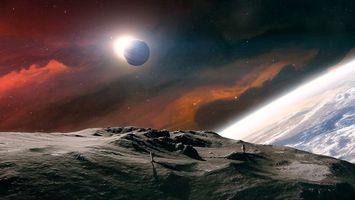 Бесплатные фото новые миры,планеты,космонавты,солнце,затмение,космос