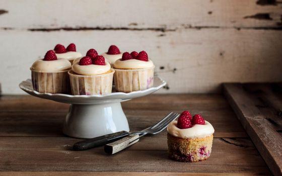 Фото бесплатно десерт, пирожное, малина