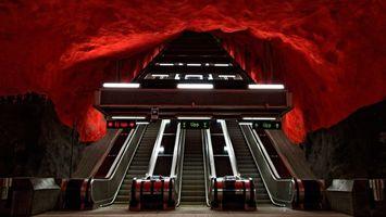 Фото бесплатно эскалатор, лестница, металл, гора, скала, подземка, разное