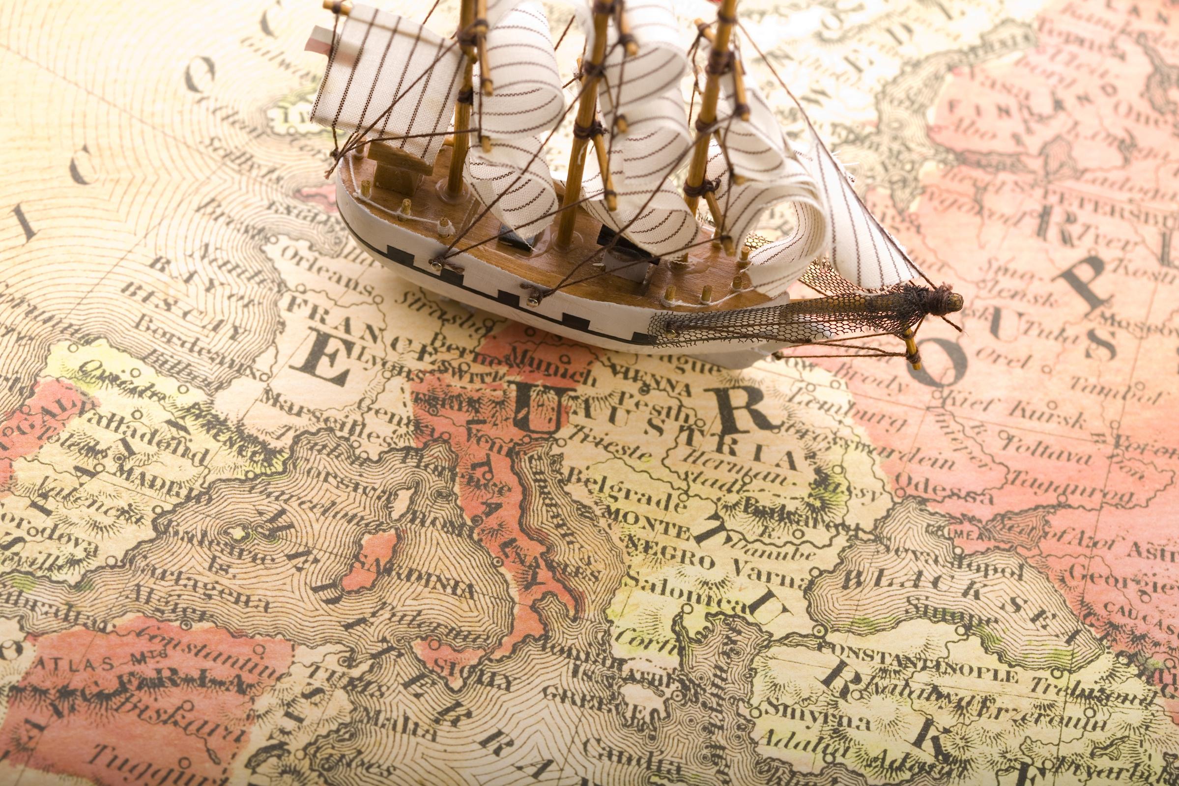 карта, европа, корабль