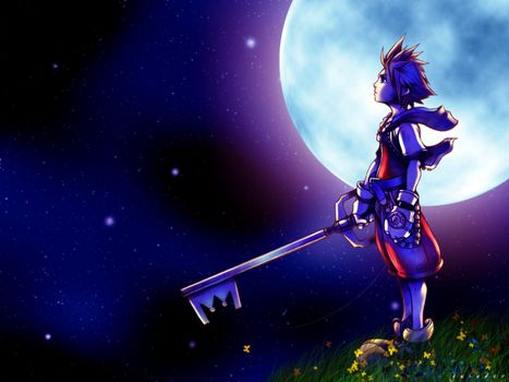 Бесплатные фото kingdom hearts,sora,grass,moon,kid,keyblade,sky,stars,игры