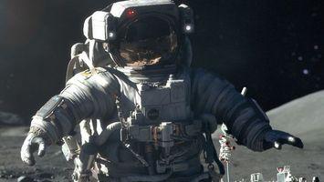 Фото бесплатно космонавт, скафандр, шлем, небо, черное, руки, космос