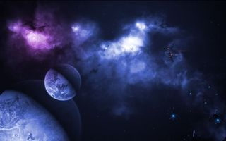 Фото бесплатно планеты, корабль, фантастика