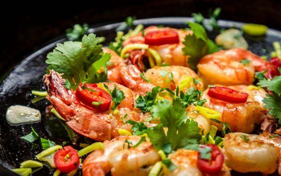 Фото бесплатно креветки, мясо, обед