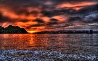 Фото бесплатно море, трава, горы