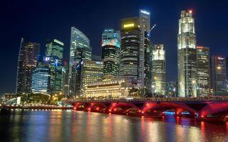 Бесплатные фото небоскребы,дома,ночь,огни,мост,дорога,река