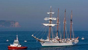 Бесплатные фото океан,корабль,буксир,волны,вода,горы,парус