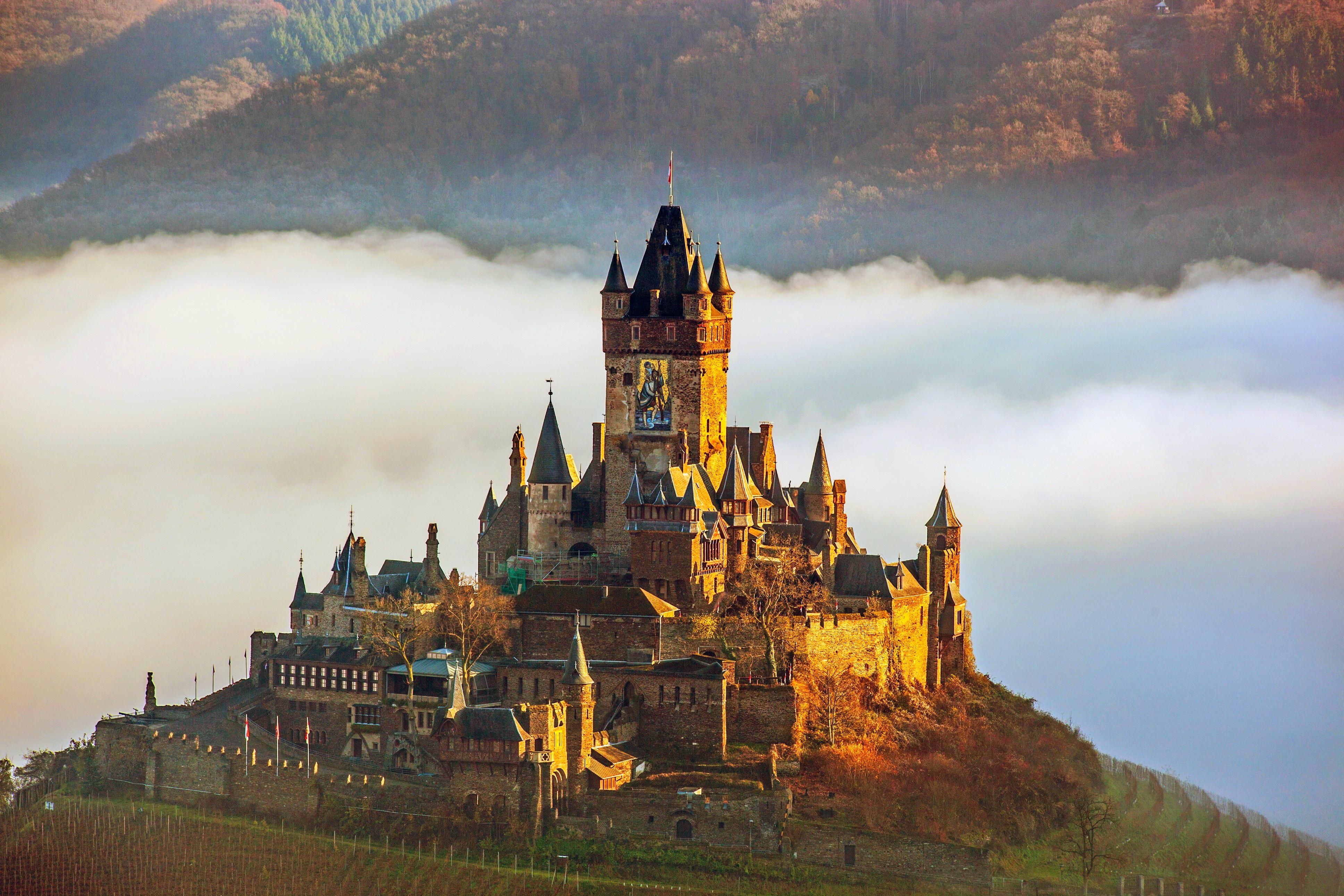 пейзаж, германия, замок