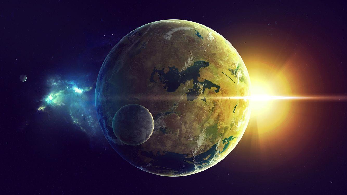 Фото бесплатно планета, спутник, другая луна, солнце, восход, фантастика, космос