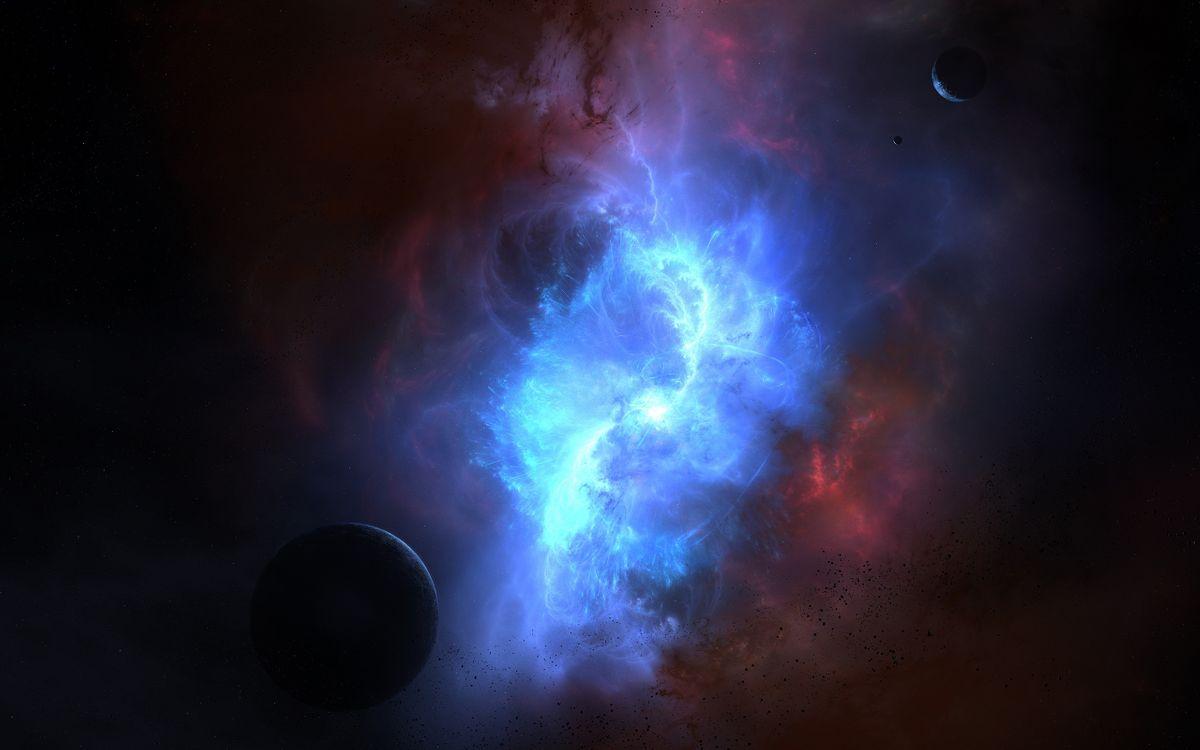 Фото бесплатно планета, туманность, галактика, звезды, газ, свет, пыль, спутник, космос, космос