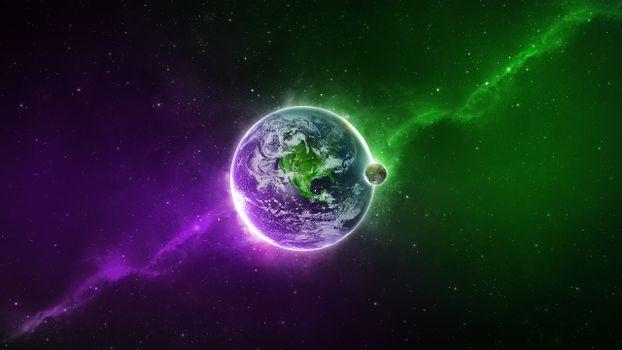 Фото бесплатно планета земля, звезды, галактика