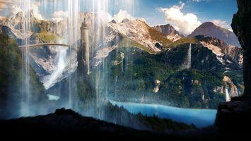 Бесплатные фото scenery,водопад,башня,вид,пещера,вода,мост