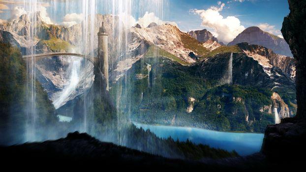 Фото бесплатно scenery, водопад, башня
