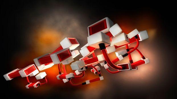 Фото бесплатно шнуры, кубы, красные