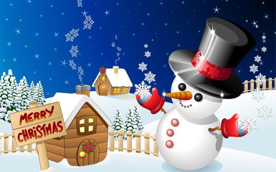 Бесплатные фото снеговик,пожелание,пуговки,нос,небо,снежинки,забор,дом,новый год,настроения,праздники