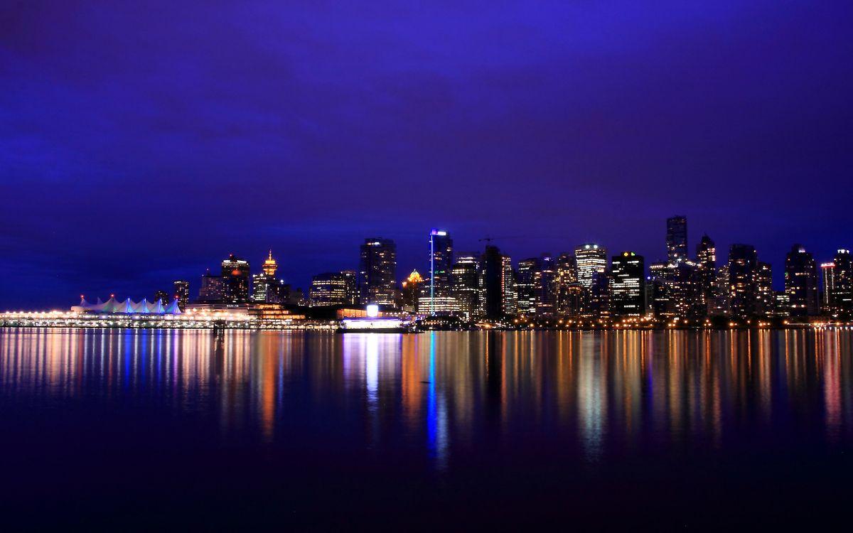 Фото бесплатно ночь, город, океан - на рабочий стол