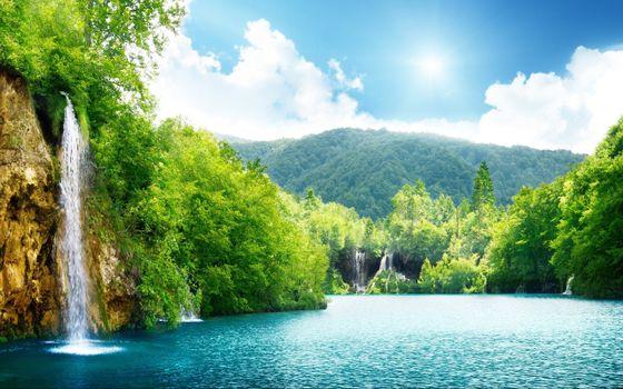 Фото бесплатно водопад, залив, солнце