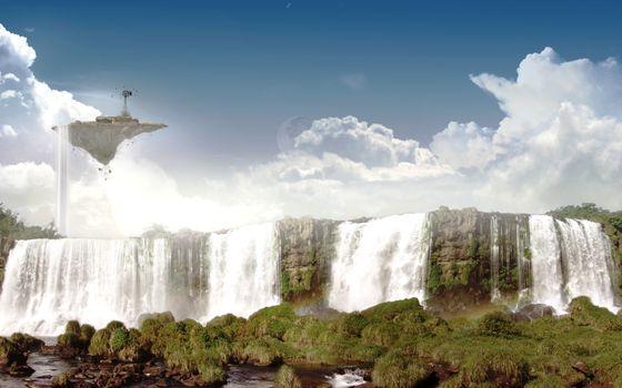 Бесплатные фото водопад,земля,вода,река,камни,трава,мох,остров,небо,облака,ветер,природа