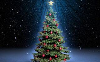 Бесплатные фото елка, новый год, нарядная, в игрушках, звезда, светится, черный фон