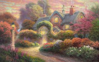 Фото бесплатно flowers, thomas kinkade, painting, rosebud cottage, cottage, томас кинкейд