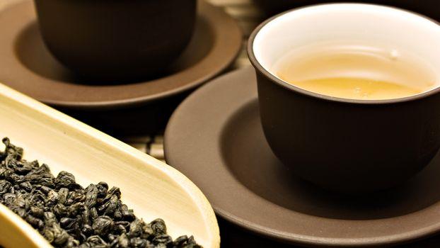 Photo free tea, leaves, plate