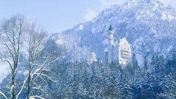 Фото бесплатно горы, деревья, зима, снег, холод, замок, пейзажи