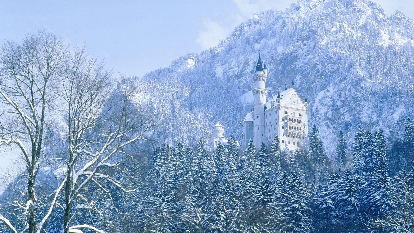 Фото бесплатно горы, деревья, зима - на рабочий стол