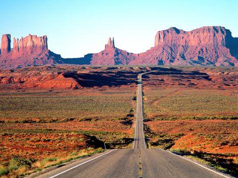 Фото бесплатно горы, дорога, поле