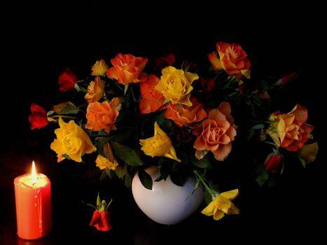 Бесплатные фото натюрморт,ваза,цветы,розы,свеча