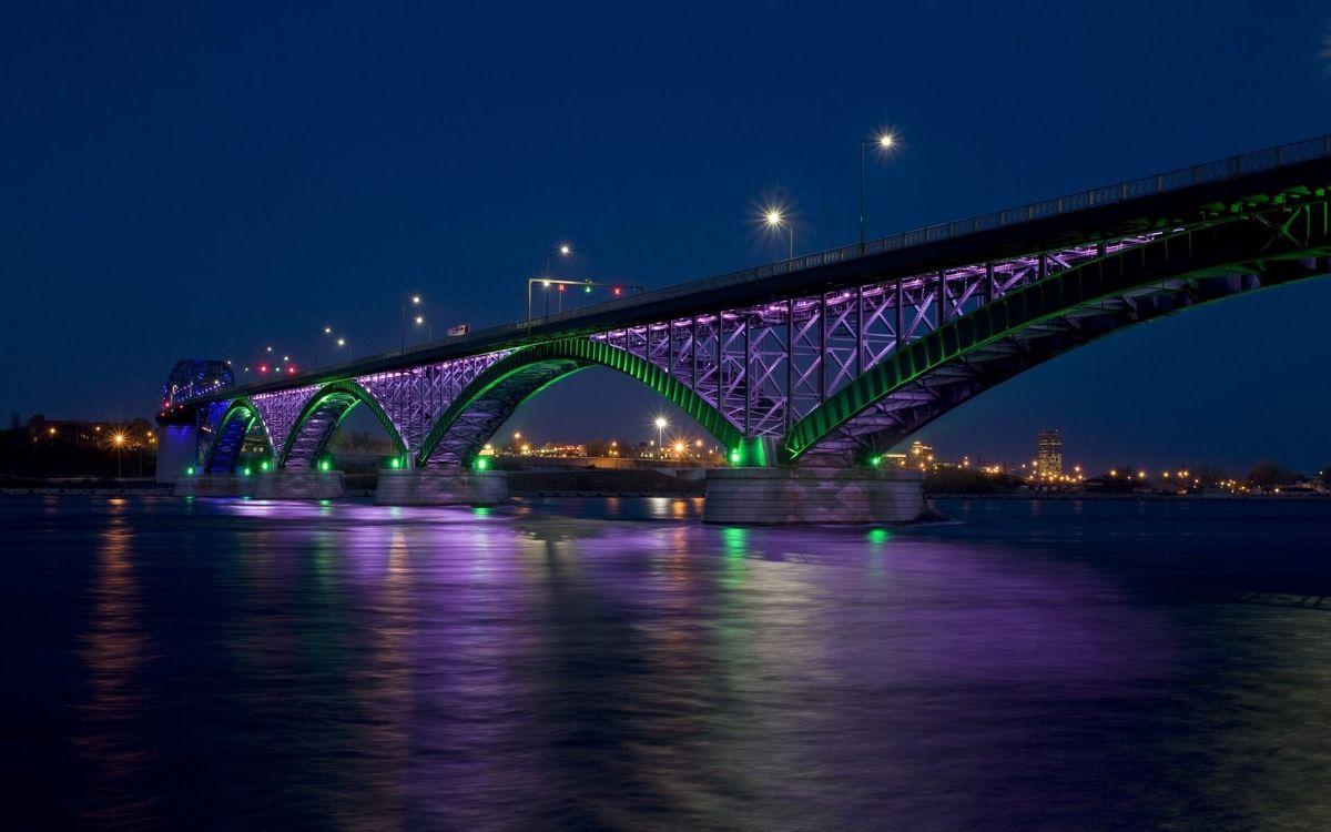 Фото бесплатно ночь, река, мост, фонари, дома, свет, город, город