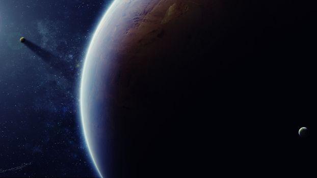 Фото бесплатно планета, спутники, звезды