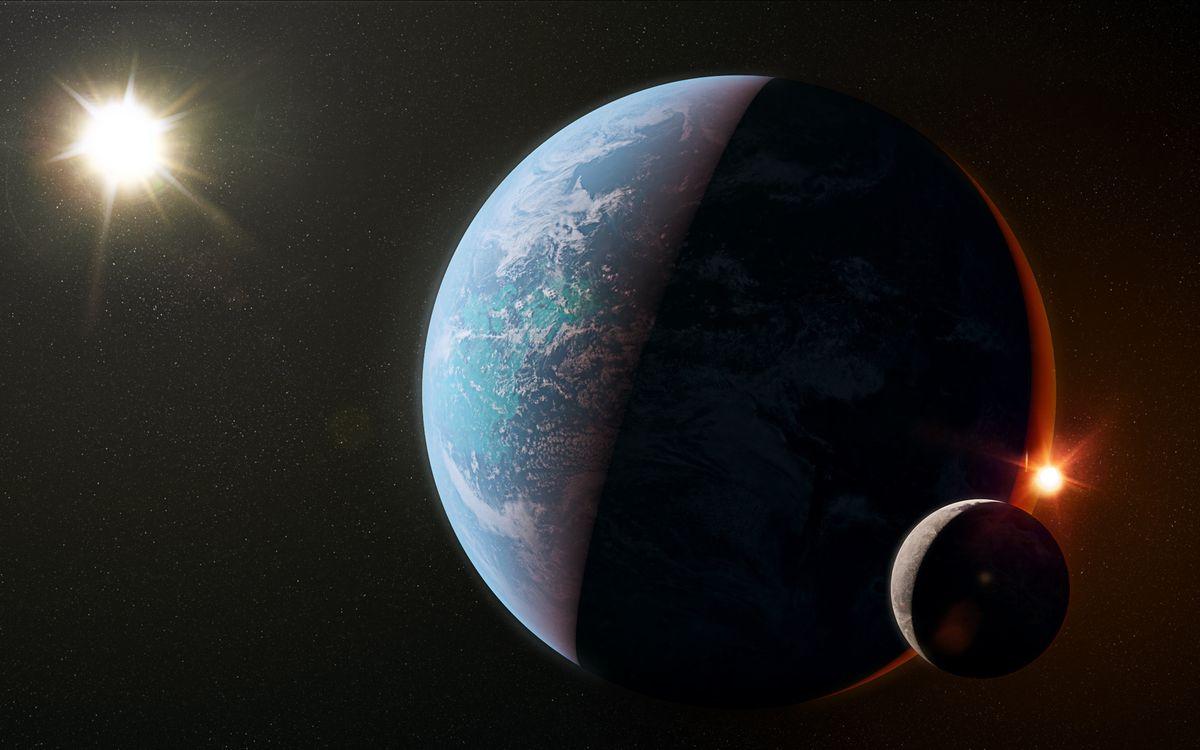 Фото бесплатно планеты, солнце, земля, луна, звезды, невесомость, космос - на рабочий стол