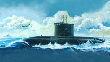 Фото бесплатно подлодка, субмарина, вода, океан, брызги, волны, война, ситуации