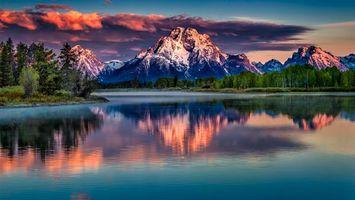 Заставки река,вода,отражение,лес,горы,небо,деревья