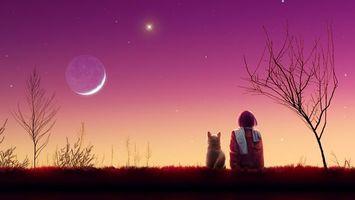 Фото бесплатно девушка, звезды, пейзаж