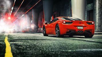Бесплатные фото авто,красный,феррари,фары,багажник,диски,дорога