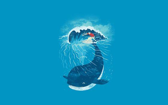 Бесплатные фото дельфин,человек,спортсмен,серфинг,доска,серф,волна,графика,абстракции,минимализм,разное