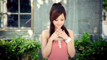 Бесплатные фото девушка, китаянка, волосы, прическа, трава, растения, фото